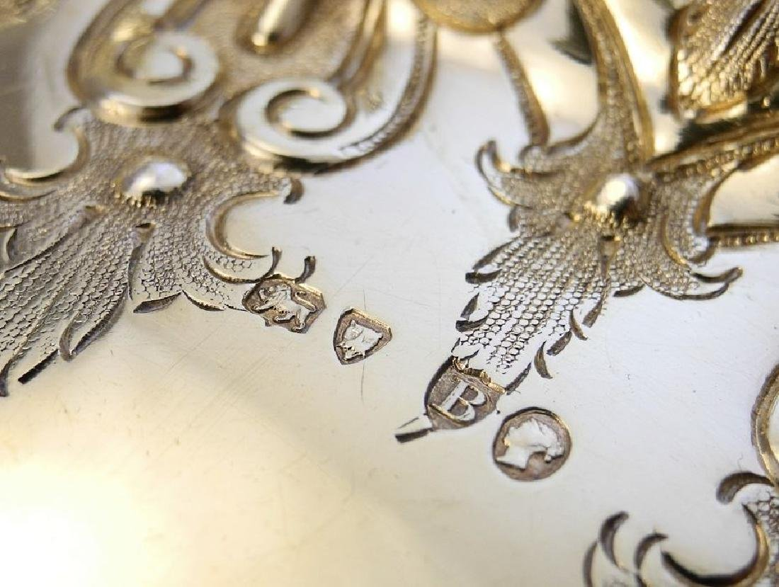 Pair Victorian gilded silver compotes by Martin & Hall - 9