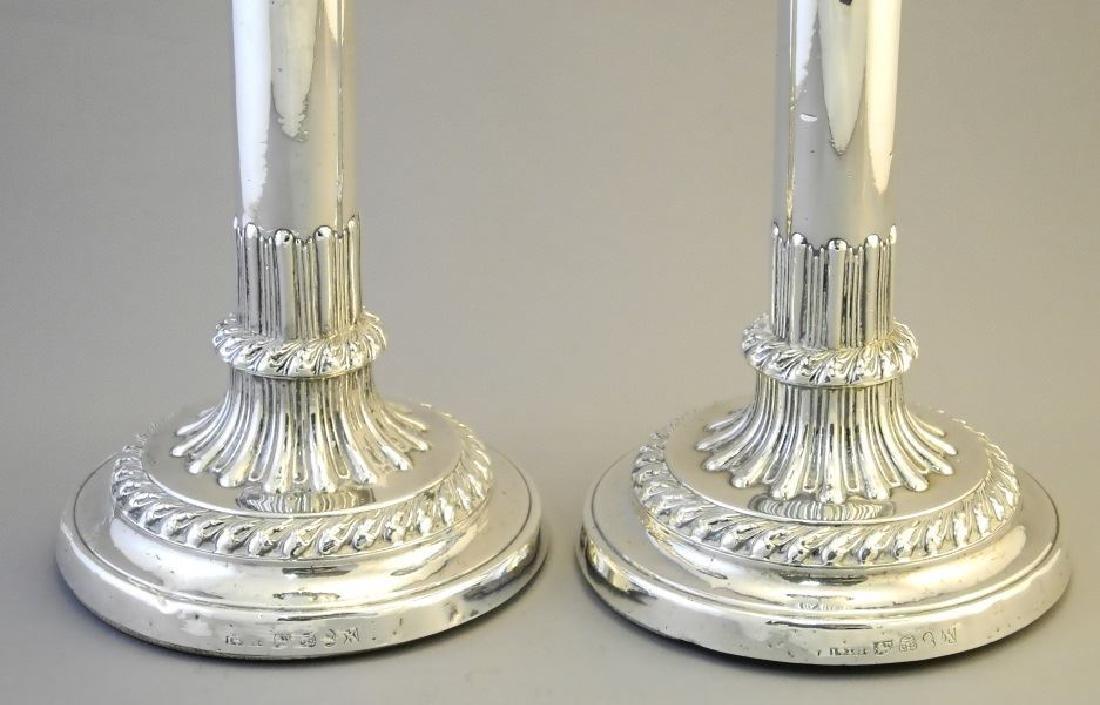 "Pair of Georgian silver candlesticks 8"". - 2"