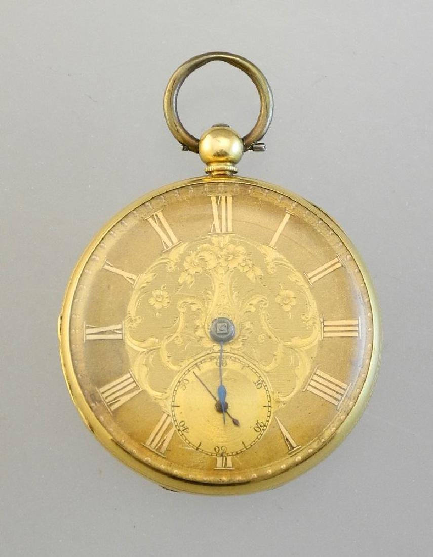 19th. cen.gold key wind pocket watch marked 18- maker