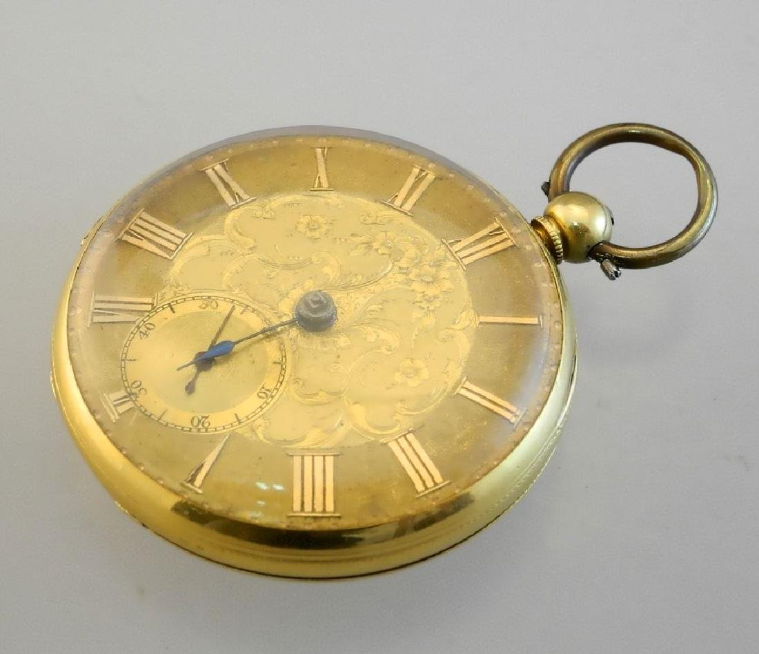 19th. cen.gold key wind pocket watch marked 18- maker - 3