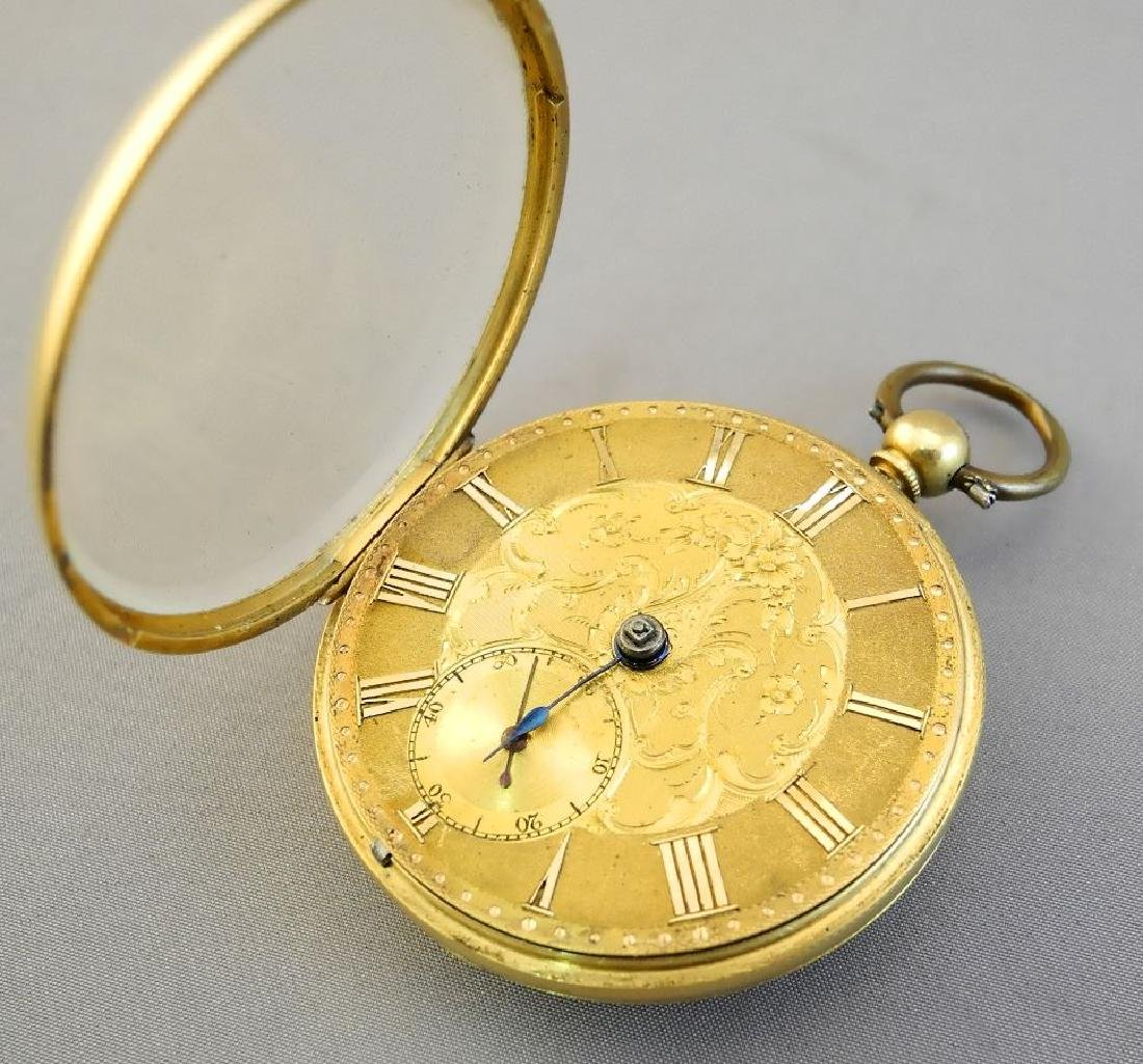 19th. cen.gold key wind pocket watch marked 18- maker - 6