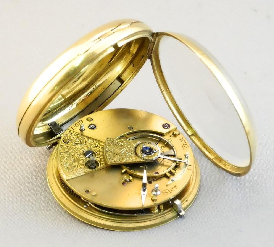 19th. cen.gold key wind pocket watch marked 18- maker - 7