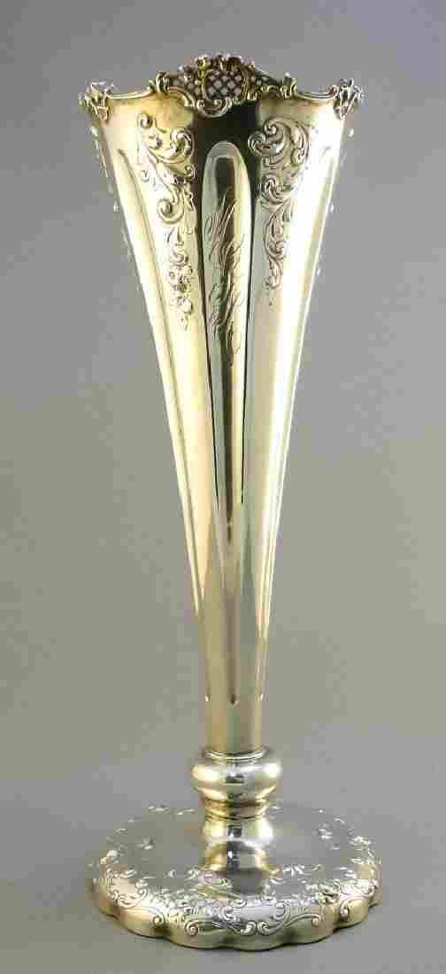 "American Sterling silver trumpet shaped vase, 14 3/4""."