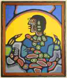 """Oil on canvas signed Morrisseau '78, 68 1/4"""" x 56"""