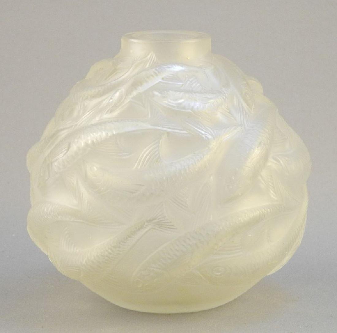 """Art glass vase signed R. Lalique France, 3 1/2"""","""
