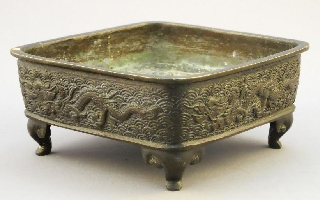 Chinese bronze square shaped censor with raised dragon