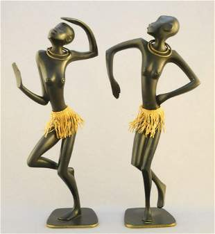 Pair of Haganauer bronze dancers with grass skirts, 10