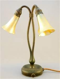 Tiffany Studios New York tulip lamp #319 bronze 3 shade