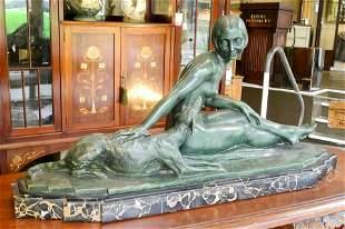 "Bronze signed L.Alliot on marble base c1920, 33 1/2"" x"