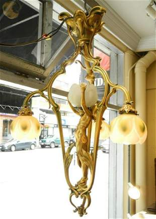 Art Nouveau gilt bronze figured hanging four shade