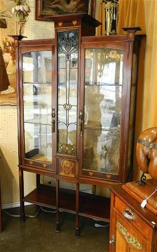 Scottish Arts & Crafts inlaid mahogany display cabinet