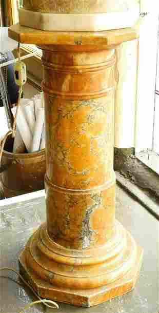 """Marble and alabaster sectional pedestal, 29 1/4""""."""