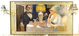 """Oil on canvas signed F. Naske, 27 1/2"""" x 51"""", """"Formal"""
