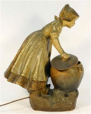 "Goldscheider figured pottery lamp signed Simon, 21"" in"