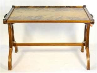 Art Nouveau inlaid mahogany coffee table designed by
