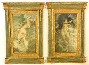 "Pair of Art Nouveau oil on canvas unsigned, 16 1/4"" x 9"