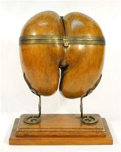 Coco de Mer Tea Caddy mounted with bronze legs, nut