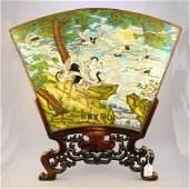 Asian cloisonne enamel fan shaped table screen on