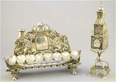 19th Century Hanukkah lamp and silver spice box, 9