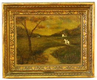 """Oil on board signed A P Ryder, 9 1/2"""" x 12 1/2"""", """"Rider"""