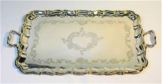 Hallmarked silver two handled tray - London 1902 maker