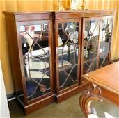 Edwardian breakfront mahogany bookcase with astragal