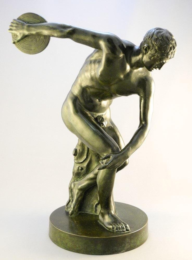 """Bronze figure of a discus thrower, 16 1/8"""" in height."""