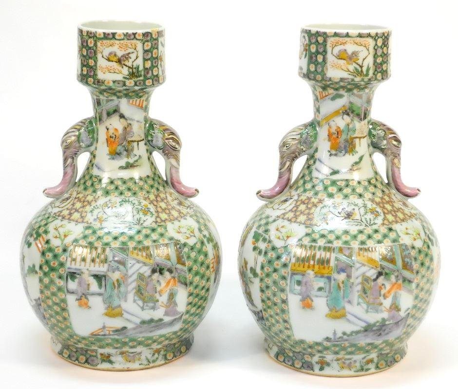 Pair of bottle shaped Chinese Export porcelain vases on