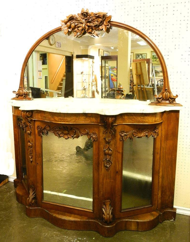 Victorian carved walnut mirrored and mirror back