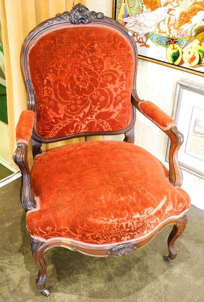 19th century Continental rosewood open armchair.