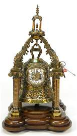 French bronze bell table clock, the bell supported
