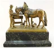 "Vienna bronze signed C. Kauba - 9"" including marble"