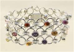 18K White Gold, Multi Sapphire & Diamond open link