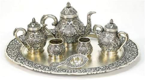 ZNR-800 Silver tea set with ashtray, etc. 146oz. troy,