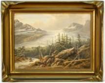 """Oil signed Loemans, 10 1/2"""" x 14 1/2"""", """"Glacier Scene""""."""