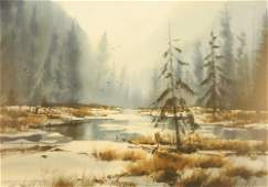 """Watercolour signed M. K. Simmons, 14"""" x 19 1/2"""", """"Early"""