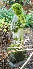Mossy concrete garden figure of a robed Bacchante, 44
