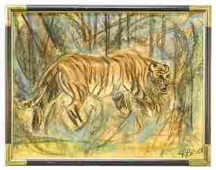 "Pastel on paper signed R. Bruce, ""Tiger""."