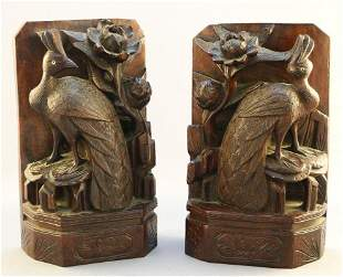 Pair of Chinese carved hardwood Peacock bookends, one