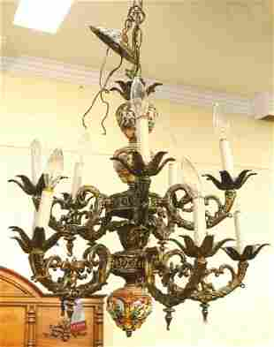 Cast brass chandelier with Capo di Monte-style