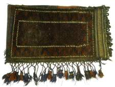 """Hand knotted wool saddle bag, 37"""" x 21""""."""