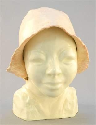 "Ceramic sculpture attributed to Moll Scott, 8"" x 5"" x"