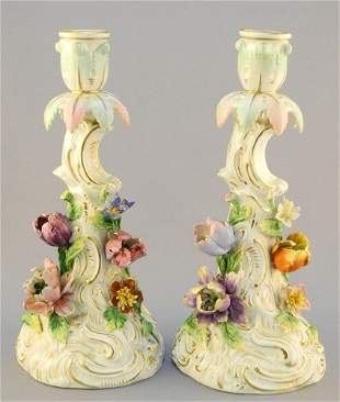 Pair of Dresden Saxony porcelain floral encrusted