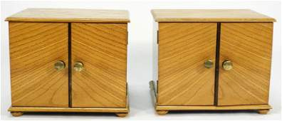 """Pair of Art Deco oak table cabinets, 7 1/4"""" x 9 1/4"""" x"""