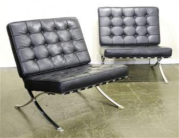 """Pair of leather and chrome """"Barcelona"""" chairs,"""