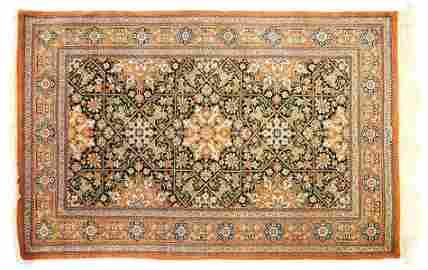 "Iranian silk prayer rug, 2'7"" x 4'2"", signed."