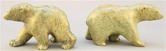 Two Inuit carved stone Bears signed Harry, 3 1/4""