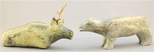 Two Inuit stone animals: Bear & Cariboo, signed with