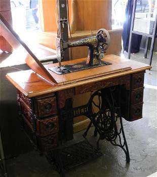 Vintage Oak Singer Treadle Sewing Machine