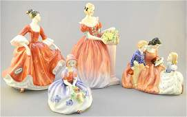 Four Royal Doulton figurines: Bed Time Story, Monica,